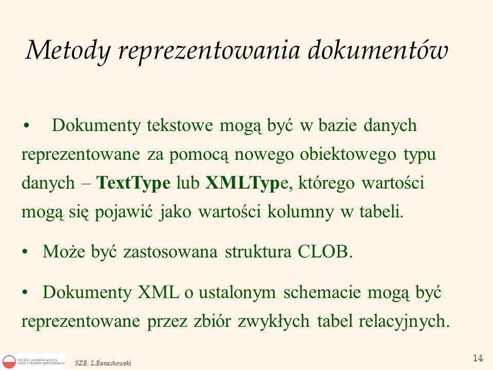14 SZB, L.Banachowski Metody reprezentowania dokumentów Dokumenty tekstowe mogą być w bazie danych reprezentowane za pomocą nowego obiektowego typu da