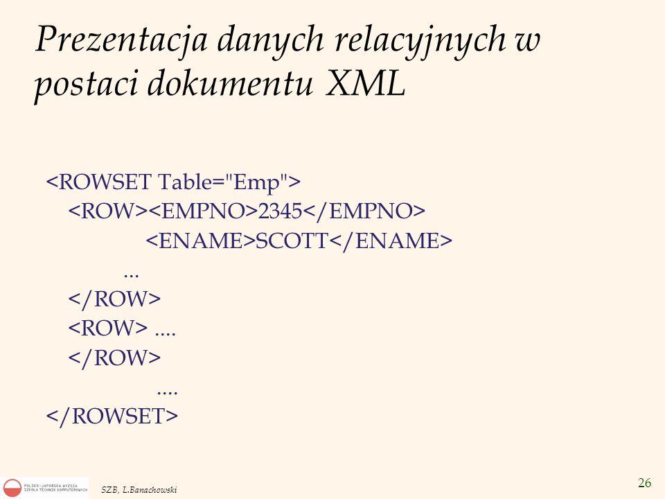 27 SZB, L.Banachowski Tekstowa baza danych v Tekstowa baza danych: zbiór dokumentów tekstowych v Ważna klasa zapytań – wyszukiwania po słowach kluczowych –Zapytania boolowskie: Składniki zapytania są powiązane spójnikami AND, OR i NOT.
