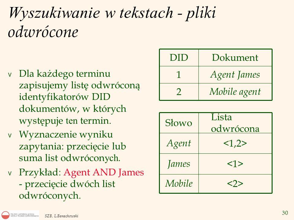 30 SZB, L.Banachowski Wyszukiwanie w tekstach - p liki odwrócone Dla każdego terminu zapisujemy listę odwróconą identyfikatorów DID dokumentów, w któr
