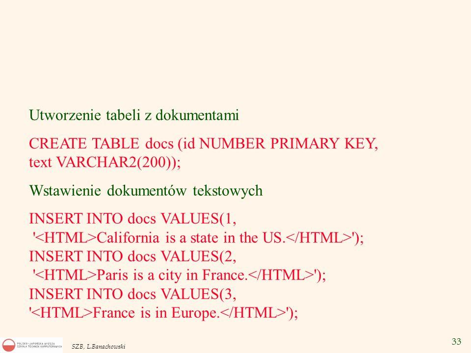 33 SZB, L.Banachowski Utworzenie tabeli z dokumentami CREATE TABLE docs (id NUMBER PRIMARY KEY, text VARCHAR2(200)); Wstawienie dokumentów tekstowych