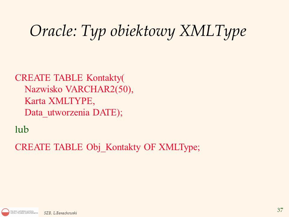 37 SZB, L.Banachowski Oracle: Typ obiektowy XMLType CREATE TABLE Kontakty( Nazwisko VARCHAR2(50), Karta XMLTYPE, Data_utworzenia DATE); l ub CREATE TA