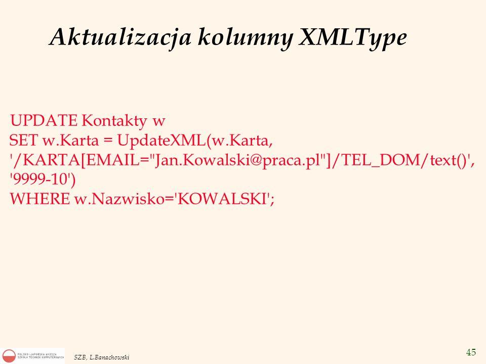 46 SZB, L.Banachowski Aktualizacja kolumny XMLType UPDATE Kontakty w SET w.Karta = UpdateXML (w.Karta, /KARTA[EMAIL= Jan.Kowalski@praca.pl ]/ADRES , XMLType( Aksamitna 90m10 Warszawa 12-782 )) WHERE w.Nazwisko= KOWALSKI ;