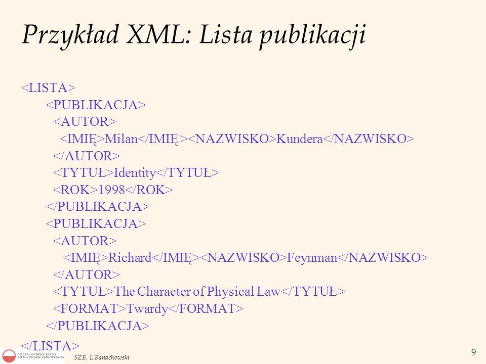 9 SZB, L.Banachowski Przykład XML: Lista publikacji Milan Kundera Identity 1998 Richard Feynman The Character of Physical Law Twardy