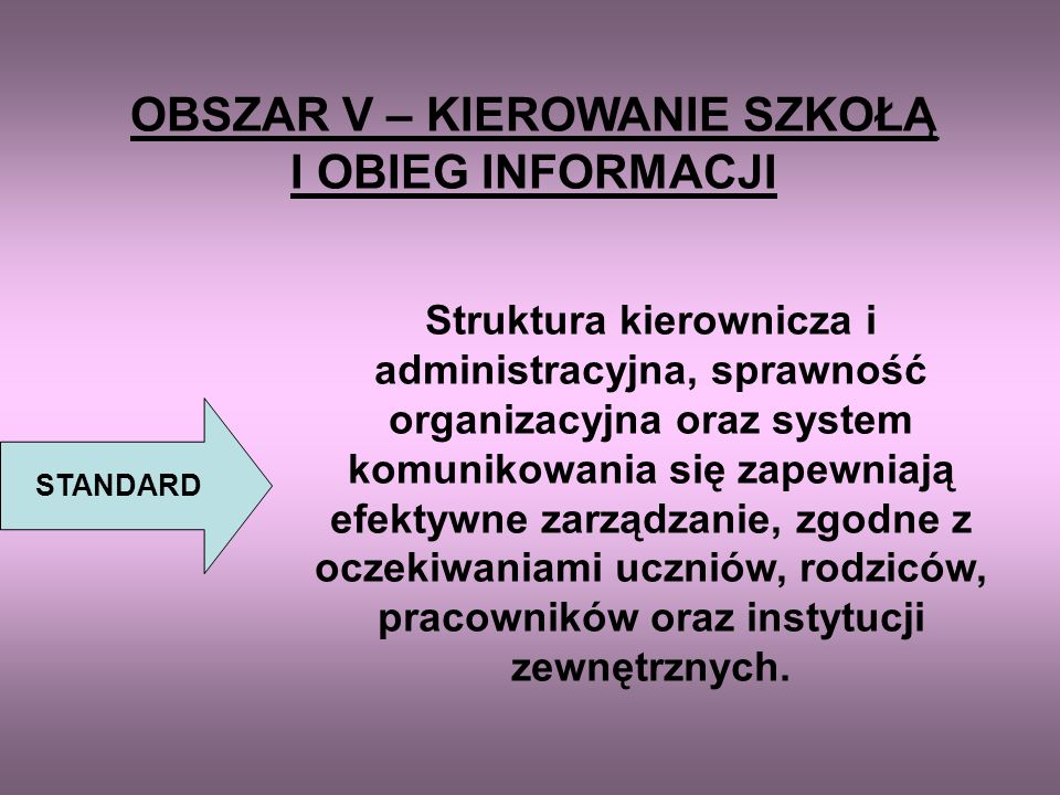 OBSZAR IV – ZDROWIE, HIGIENA, BEZPIECZEŃSTWO PRACY STANDARD Wszyscy uczniowie, pracownicy i inne osoby przebywające w szkole funkcjonują w zdrowych, b