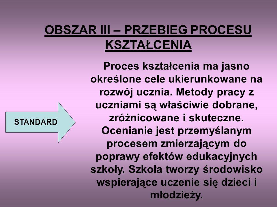OBSZAR II – ORGANIZACJA PROCESU KSZTAŁCENIA STANDARD Organizacja procesu kształcenia umożliwia pełną realizację zadań szkoły oraz zmierza do osiągnięc