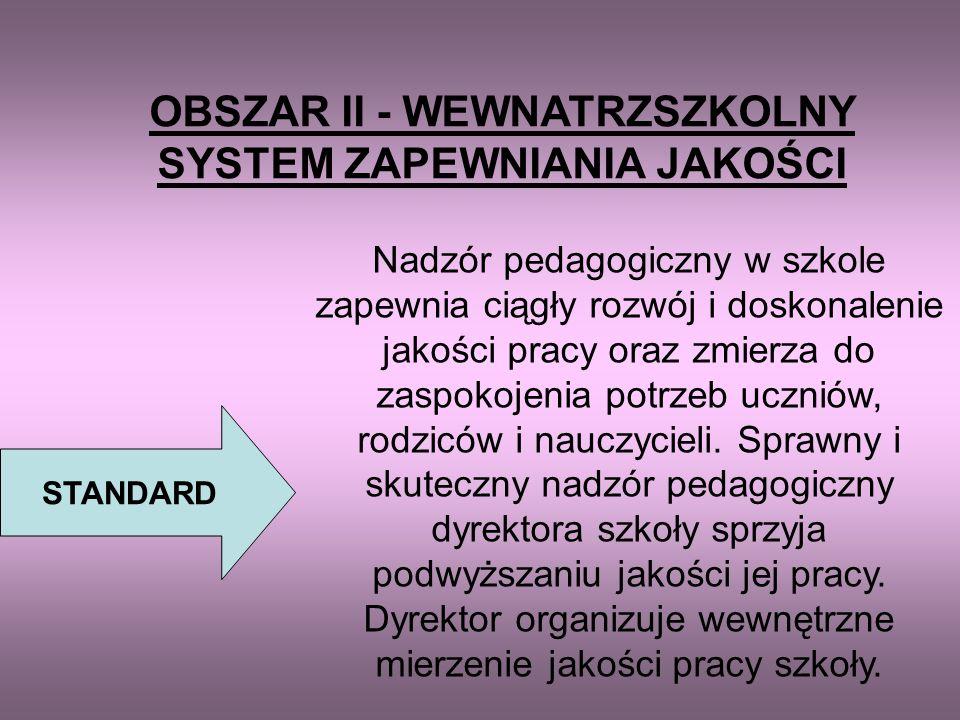 KONCEPCJA PRACY SZKOŁY OBSZAR I – ZARZĄDZANIE STRATEGICZNE Standard: Szkoła posiada jasno określone i akceptowane przez społeczność szkolną kierunki i