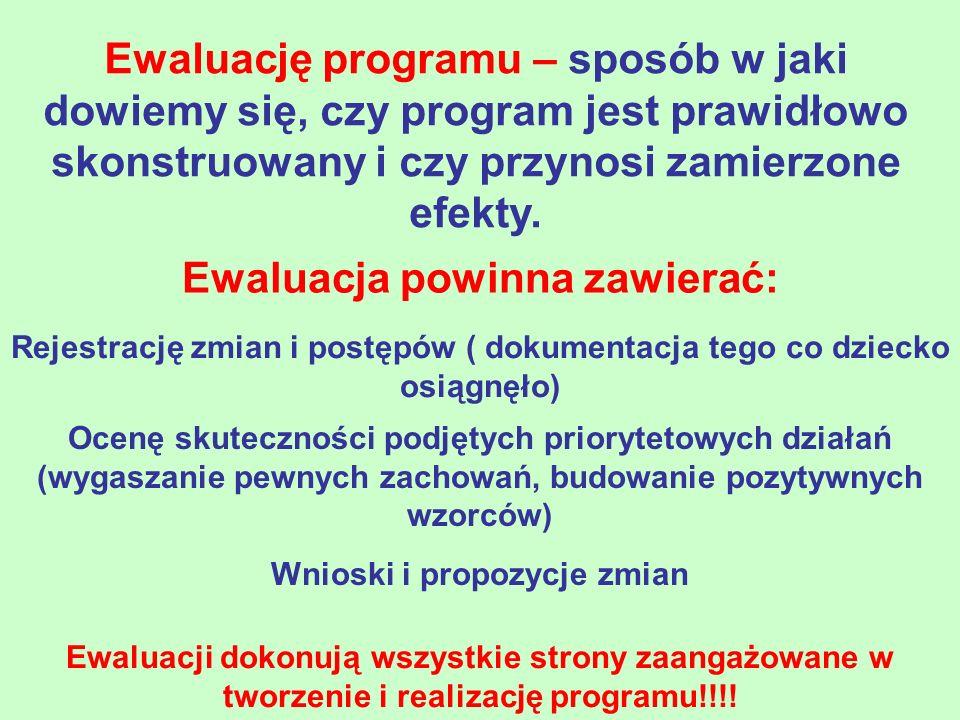 Ewaluację programu – sposób w jaki dowiemy się, czy program jest prawidłowo skonstruowany i czy przynosi zamierzone efekty. Ewaluacja powinna zawierać