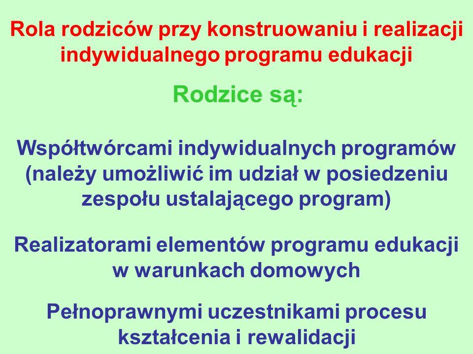 Rola rodziców przy konstruowaniu i realizacji indywidualnego programu edukacji Rodzice są: Współtwórcami indywidualnych programów (należy umożliwić im