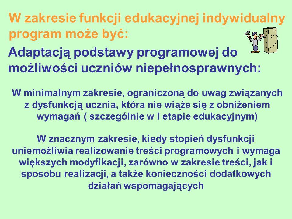 W zakresie funkcji edukacyjnej indywidualny program może być: Adaptacją podstawy programowej do możliwości uczniów niepełnosprawnych: W minimalnym zak