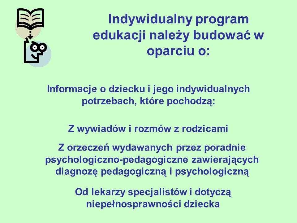 Indywidualny program edukacji należy budować w oparciu o: Informacje o dziecku i jego indywidualnych potrzebach, które pochodzą: Z wywiadów i rozmów z