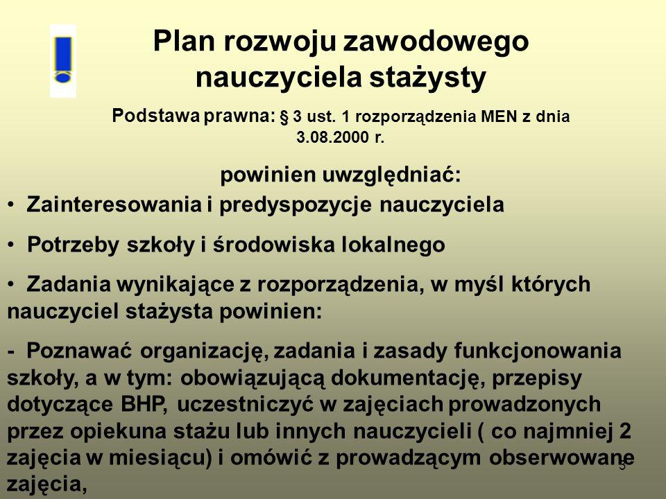 3 Plan rozwoju zawodowego nauczyciela stażysty Podstawa prawna: § 3 ust. 1 rozporządzenia MEN z dnia 3.08.2000 r. powinien uwzględniać: Zainteresowani