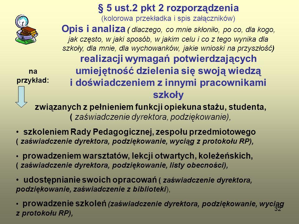 32 § 5 ust.2 pkt 2 rozporządzenia (kolorowa przekładka i spis załączników) Opis i analiza ( dlaczego, co mnie skłoniło, po co, dla kogo, jak często, w jaki sposób, w jakim celu i co z tego wynika dla szkoły, dla mnie, dla wychowanków, jakie wnioski na przyszłość) realizacji wymagań potwierdzających umiejętność dzielenia się swoją wiedzą i doświadczeniem z innymi pracownikami szkoły związanych z pełnieniem funkcji opiekuna stażu, studenta, ( zaświadczenie dyrektora, podziękowanie), szkoleniem Rady Pedagogicznej, zespołu przedmiotowego ( zaświadczenie dyrektora, podziękowanie, wyciąg z protokołu RP), prowadzeniem warsztatów, lekcji otwartych, koleżeńskich, ( zaświadczenie dyrektora, podziękowanie, listy obecności), udostępnianie swoich opracowań ( zaświadczenie dyrektora, podziękowanie, zaświadczenie z biblioteki), prowadzenie szkoleń (zaświadczenie dyrektora, podziękowanie, wyciąg z protokołu RP), na przykład: