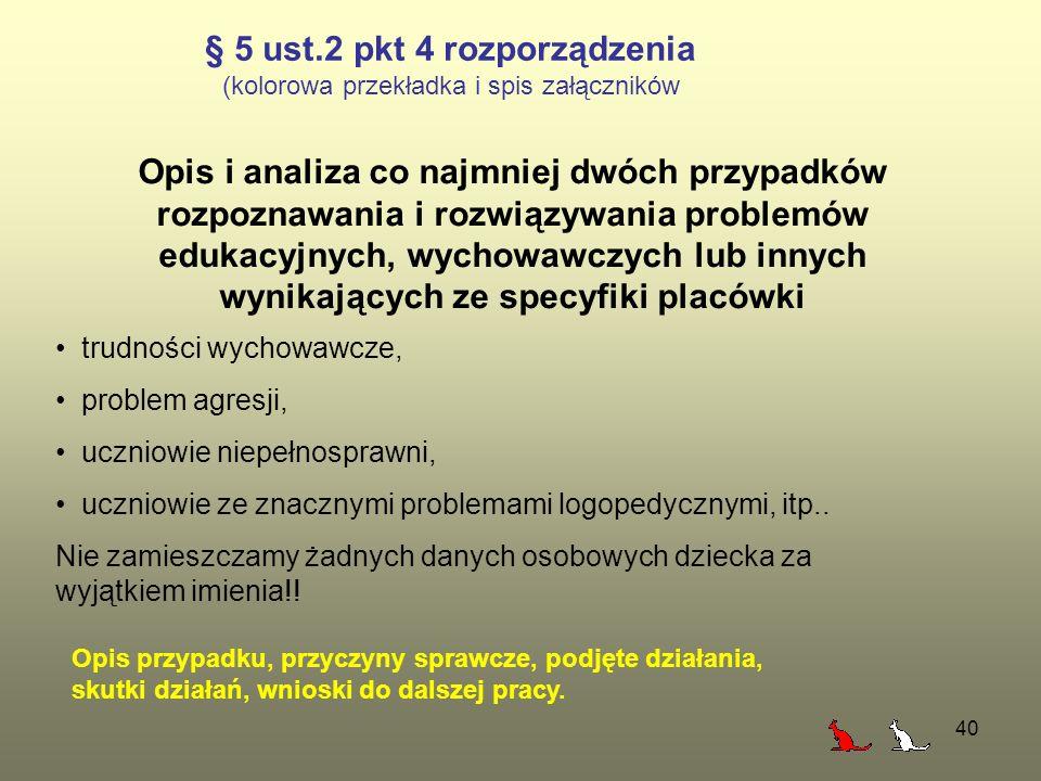 40 § 5 ust.2 pkt 4 rozporządzenia (kolorowa przekładka i spis załączników Opis i analiza co najmniej dwóch przypadków rozpoznawania i rozwiązywania pr