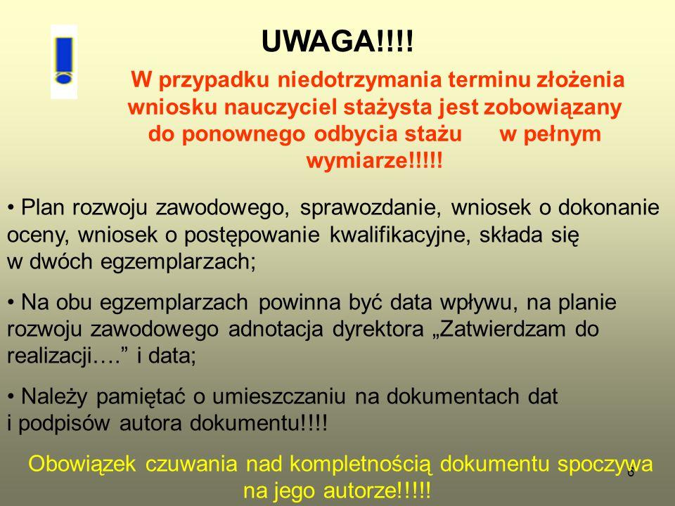 6 UWAGA!!!! W przypadku niedotrzymania terminu złożenia wniosku nauczyciel stażysta jest zobowiązany do ponownego odbycia stażu w pełnym wymiarze!!!!!