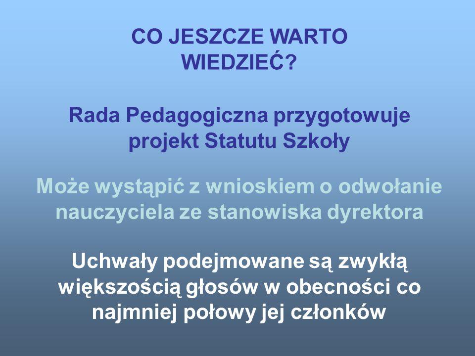 Rada Pedagogiczna ustala regulamin swojej działalności.