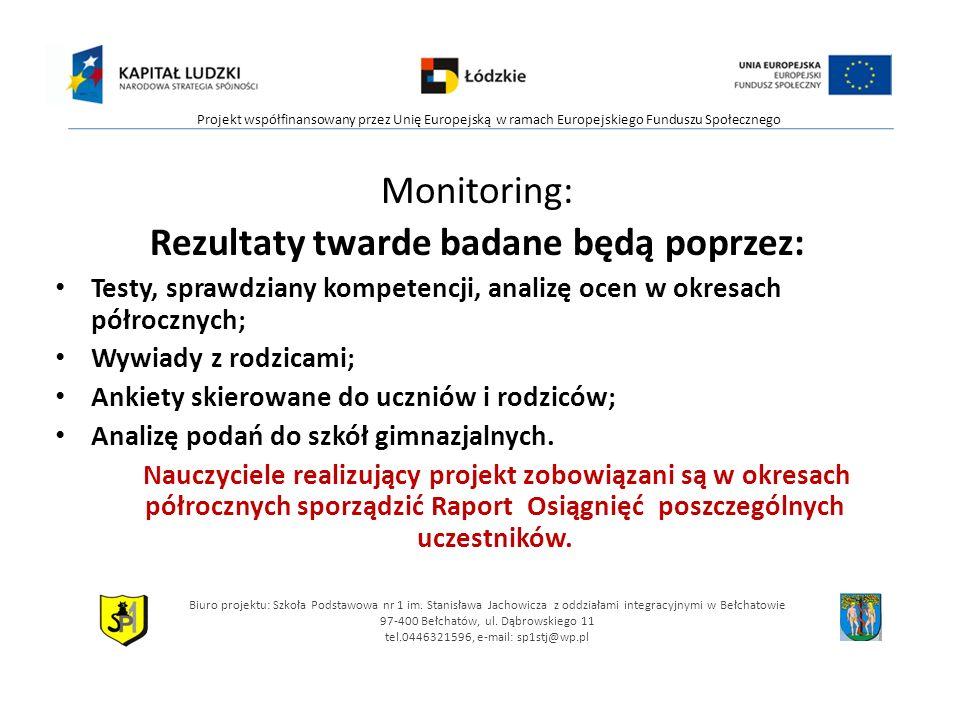 Monitoring: Rezultaty twarde badane będą poprzez: Testy, sprawdziany kompetencji, analizę ocen w okresach półrocznych; Wywiady z rodzicami; Ankiety skierowane do uczniów i rodziców; Analizę podań do szkół gimnazjalnych.