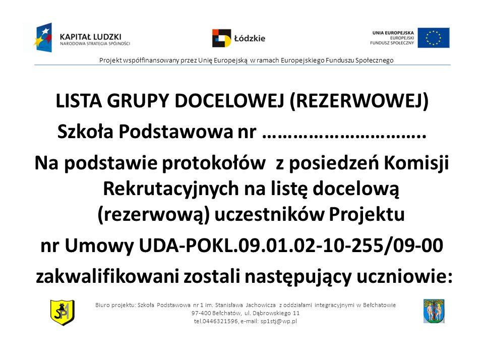 LISTA GRUPY DOCELOWEJ (REZERWOWEJ) Szkoła Podstawowa nr …………………………..