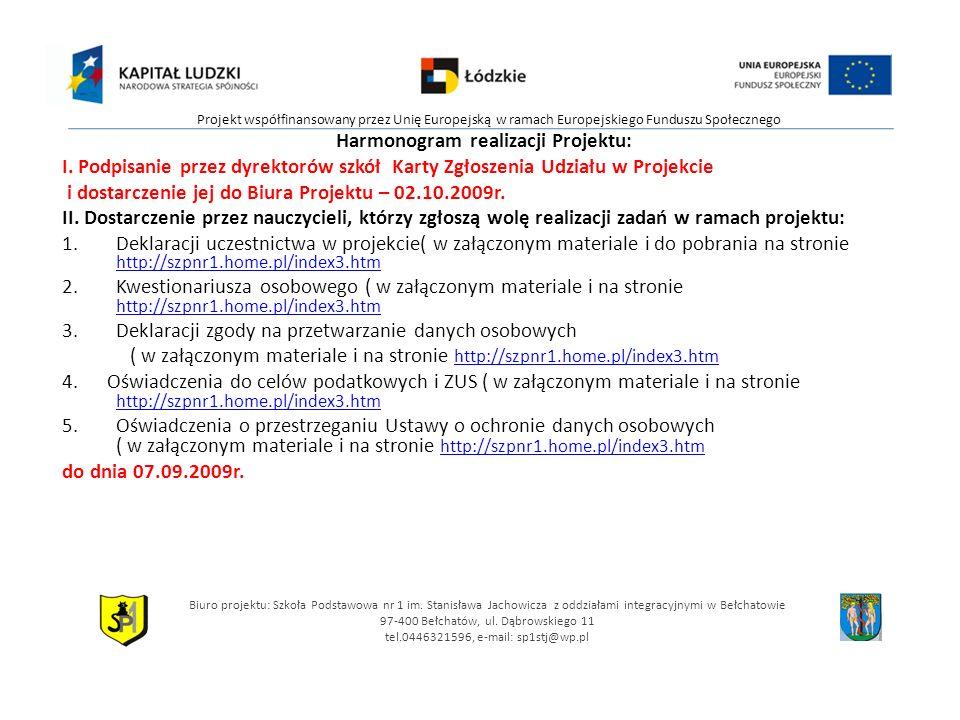 Harmonogram realizacji Projektu: I.