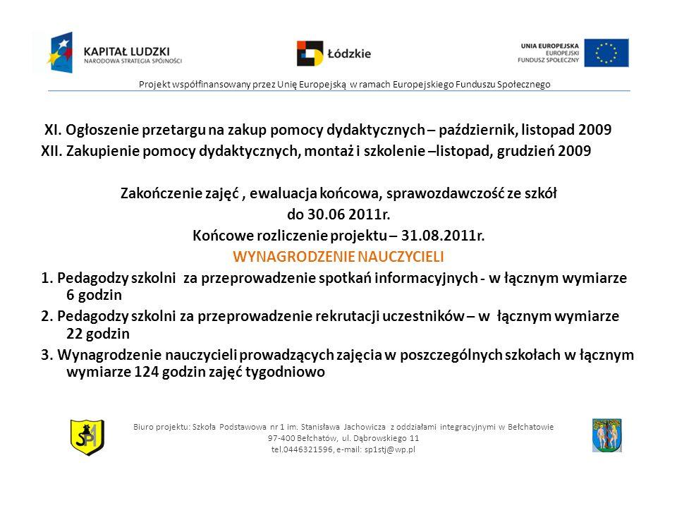 XI. Ogłoszenie przetargu na zakup pomocy dydaktycznych – październik, listopad 2009 XII.