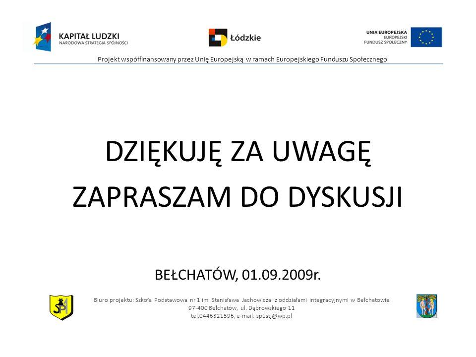 DZIĘKUJĘ ZA UWAGĘ ZAPRASZAM DO DYSKUSJI BEŁCHATÓW, 01.09.2009r.