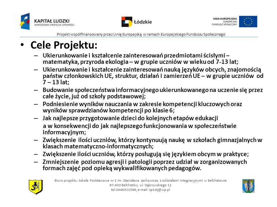 Cele Projektu: – Ukierunkowanie i kształcenie zainteresowań przedmiotami ścisłymi – matematyka, przyroda ekologia – w grupie uczniów w wieku od 7-13 lat; – Ukierunkowanie i kształcenie zainteresowań nauką języków obcych, znajomością państw członkowskich UE, struktur, działań i zamierzeń UE – w grupie uczniów od 7 – 13 lat; – Budowanie społeczeństwa informacyjnego ukierunkowanego na uczenie się przez całe życie, już od szkoły podstawowej; – Podniesienie wyników nauczania w zakresie kompetencji kluczowych oraz wyników sprawdzianów kompetencji po klasie 6; – Jak najlepsze przygotowanie dzieci do kolejnych etapów edukacji a w konsekwencji do jak najlepszego funkcjonowania w społeczeństwie informacyjnym; – Zwiększenie ilości uczniów, którzy kontynuują naukę w szkołach gimnazjalnych w klasach matematyczno-informatycznych; – Zwiększenie ilości uczniów, którzy posługują się językiem obcym w praktyce; – Zmniejszenie poziomu agresji i patologii poprzez udział w zorganizowanych formach zajęć pod opieką wykwalifikowanych pedagogów.