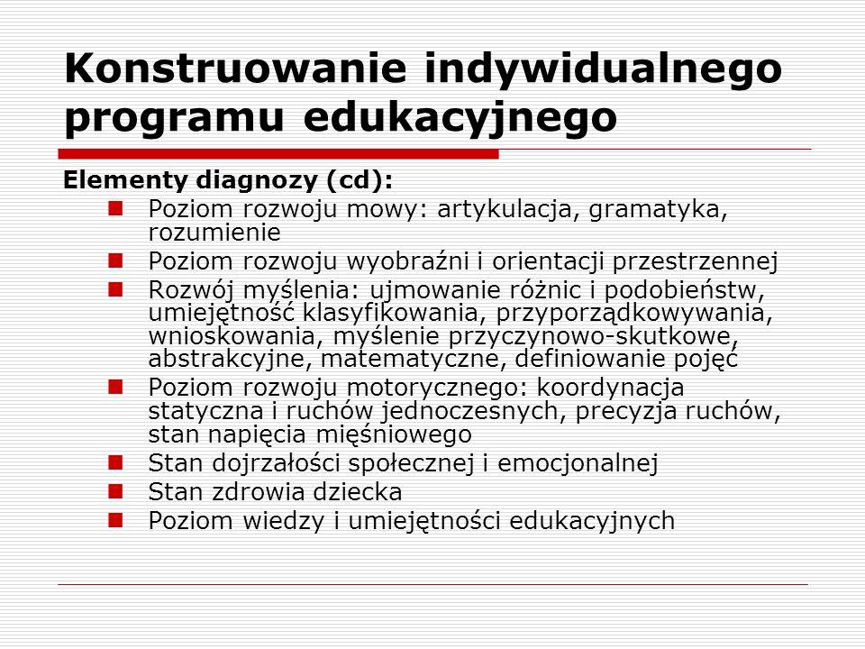 Konstruowanie indywidualnego programu edukacyjnego Elementy diagnozy (cd): Poziom rozwoju mowy: artykulacja, gramatyka, rozumienie Poziom rozwoju wyobraźni i orientacji przestrzennej Rozwój myślenia: ujmowanie różnic i podobieństw, umiejętność klasyfikowania, przyporządkowywania, wnioskowania, myślenie przyczynowo-skutkowe, abstrakcyjne, matematyczne, definiowanie pojęć Poziom rozwoju motorycznego: koordynacja statyczna i ruchów jednoczesnych, precyzja ruchów, stan napięcia mięśniowego Stan dojrzałości społecznej i emocjonalnej Stan zdrowia dziecka Poziom wiedzy i umiejętności edukacyjnych