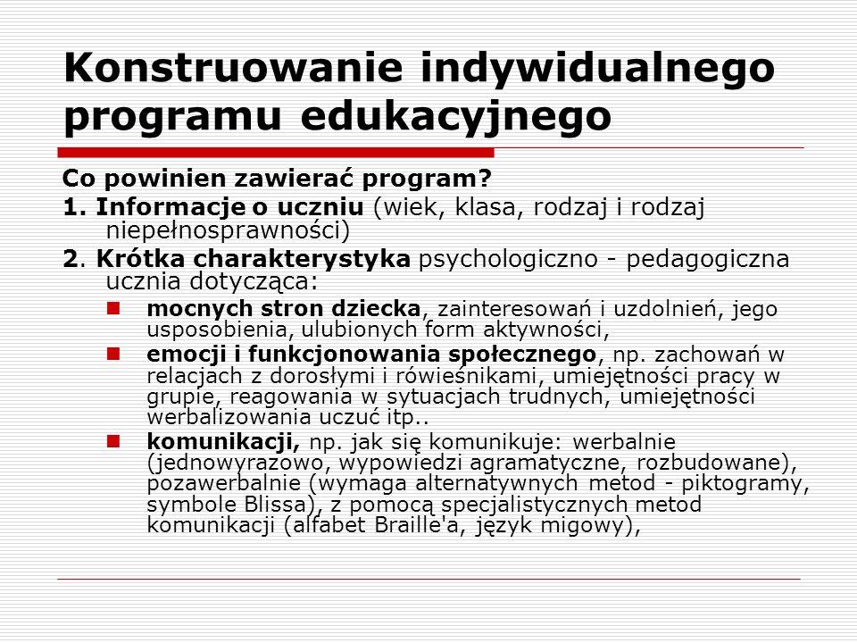 Konstruowanie indywidualnego programu edukacyjnego Co powinien zawierać program.