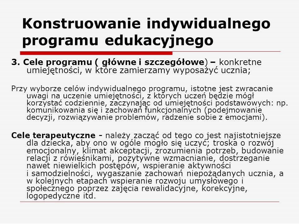 Konstruowanie indywidualnego programu edukacyjnego 3.
