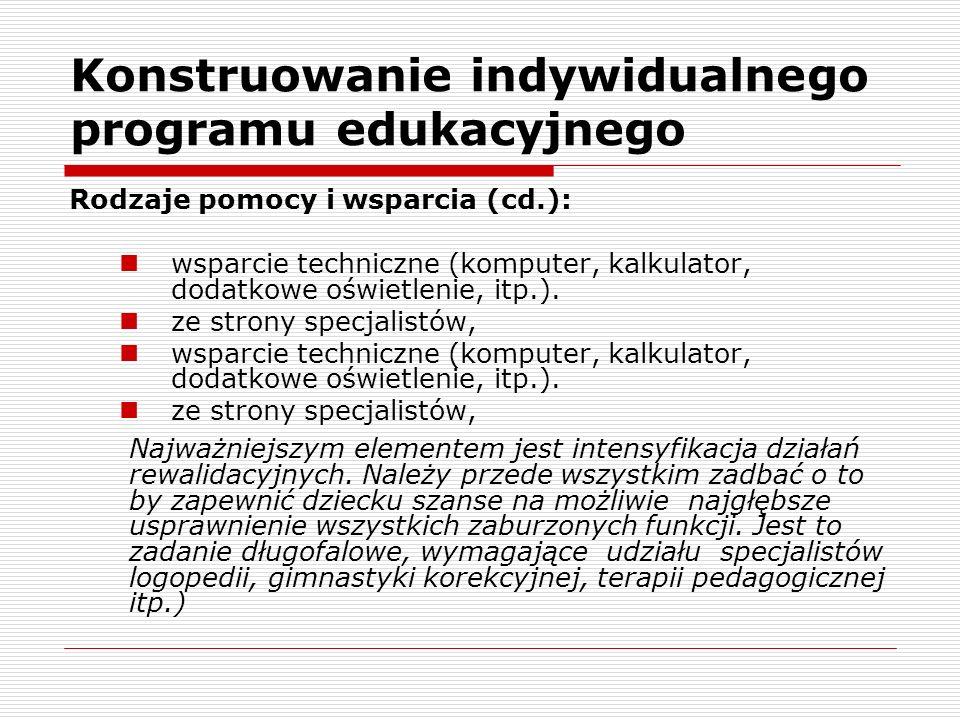 Konstruowanie indywidualnego programu edukacyjnego Rodzaje pomocy i wsparcia (cd.): wsparcie techniczne (komputer, kalkulator, dodatkowe oświetlenie, itp.).