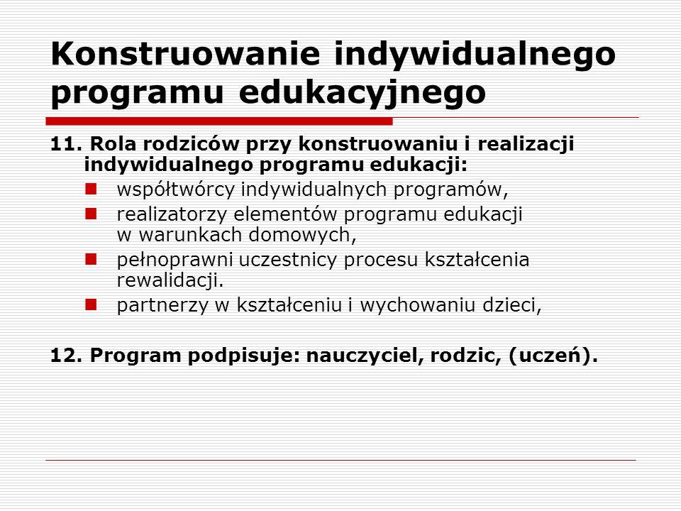 Konstruowanie indywidualnego programu edukacyjnego 11.
