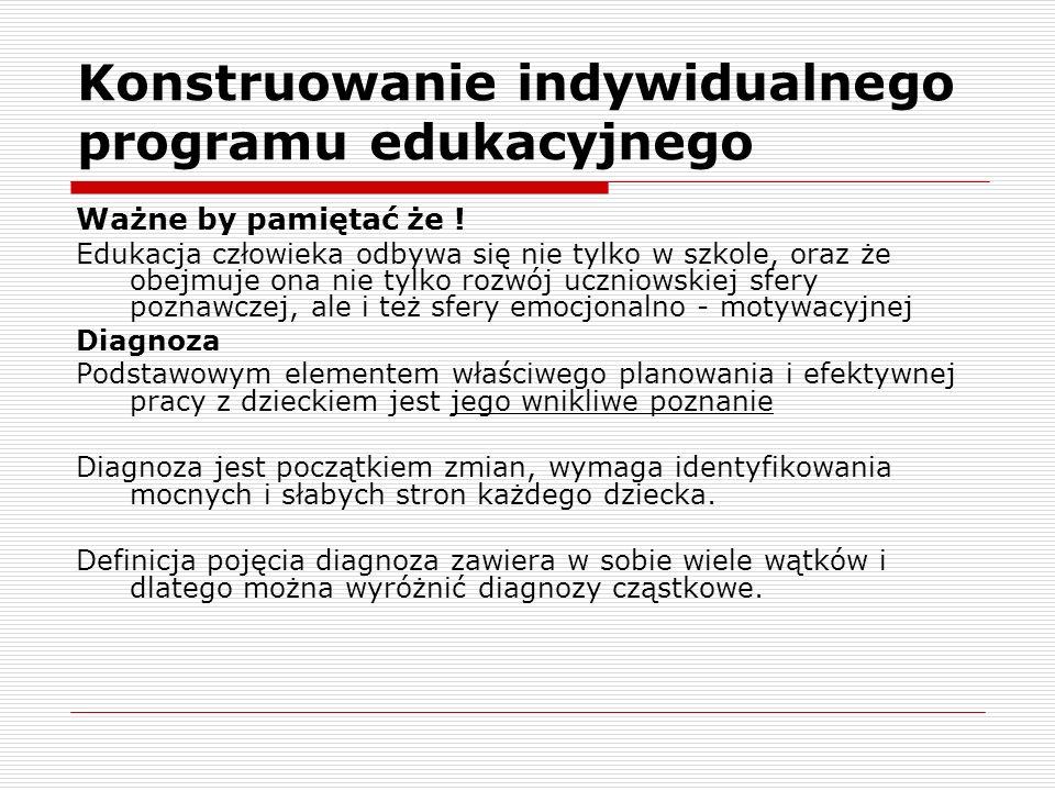 Konstruowanie indywidualnego programu edukacyjnego Ważne by pamiętać że .