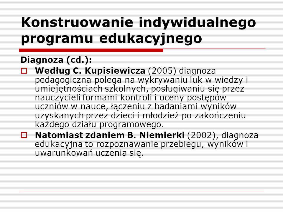 Konstruowanie indywidualnego programu edukacyjnego Diagnoza (cd.): Według C.