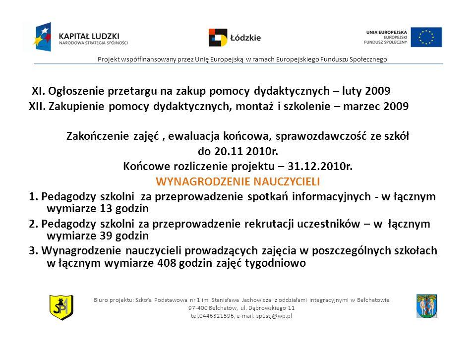 XI. Ogłoszenie przetargu na zakup pomocy dydaktycznych – luty 2009 XII. Zakupienie pomocy dydaktycznych, montaż i szkolenie – marzec 2009 Zakończenie