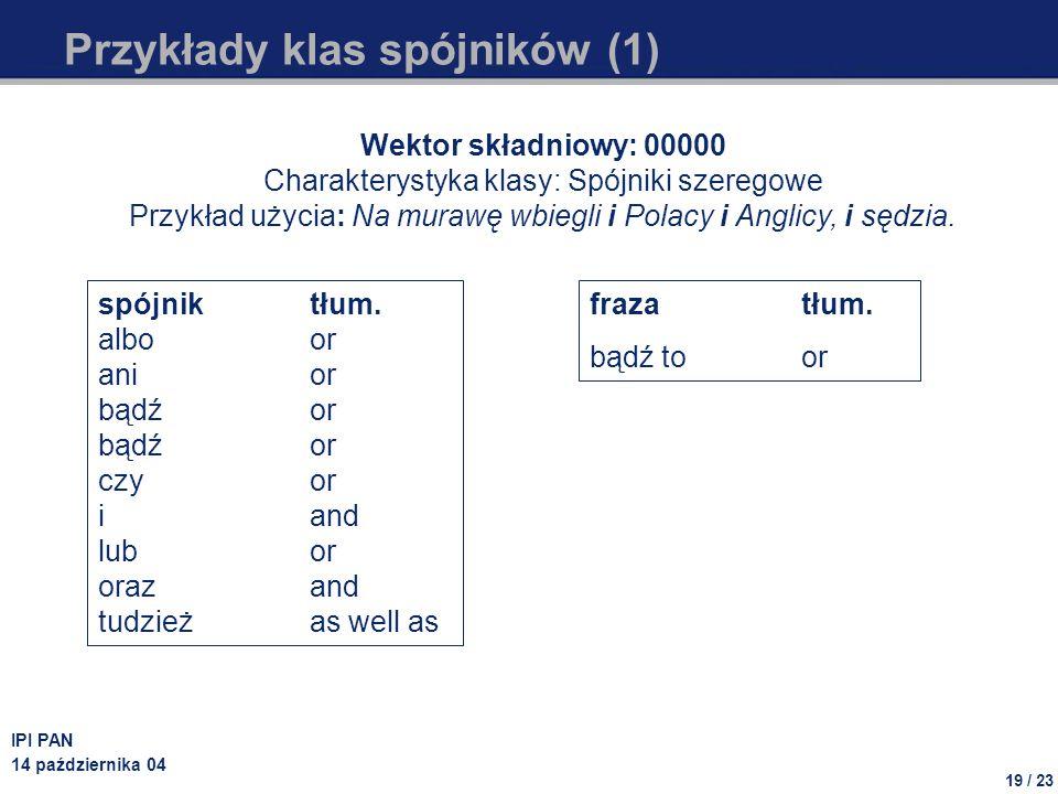 19 / 23 IPI PAN 14 października 04 Przykłady klas spójników (1) Wektor składniowy: 00000 Charakterystyka klasy: Spójniki szeregowe Przykład użycia: Na