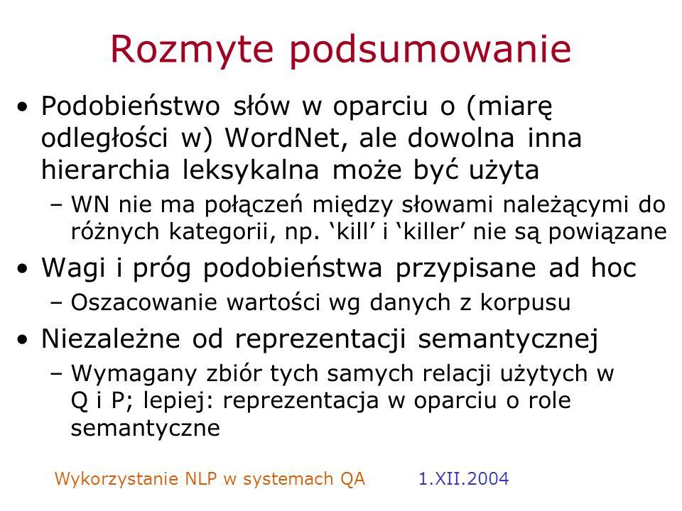 Wykorzystanie NLP w systemach QA 1.XII.2004 Rozmyte podsumowanie Podobieństwo słów w oparciu o (miarę odległości w) WordNet, ale dowolna inna hierarch