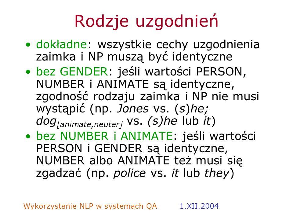 Wykorzystanie NLP w systemach QA 1.XII.2004 Rodzje uzgodnień dokładne: wszystkie cechy uzgodnienia zaimka i NP muszą być identyczne bez GENDER: jeśli