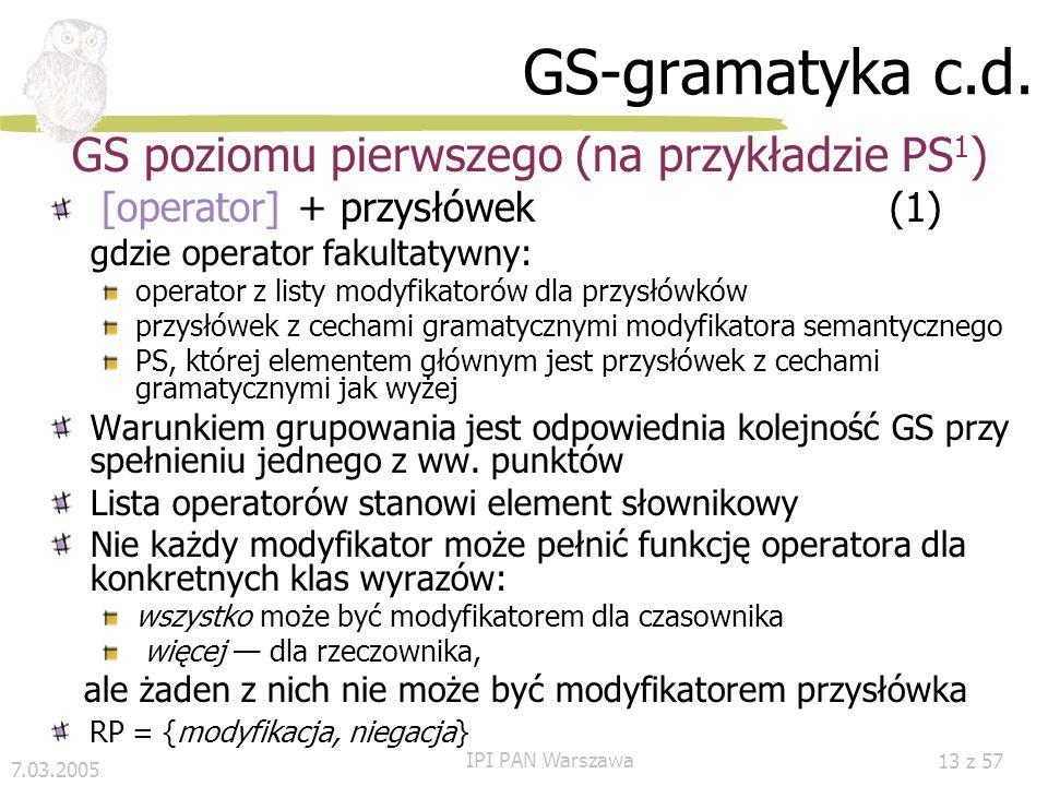 7.03.2005 IPI PAN Warszawa 12 z 57 GS-gramatyka c.d. GS trywialne (GS 0 ) Kryterium leksykalne Gramatyka zadana z góry, np. słownikiem Informacja doda