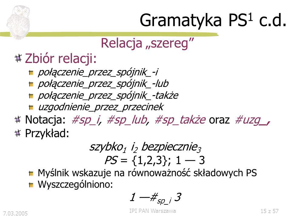 7.03.2005 IPI PAN Warszawa 14 z 57 Gramatyka PS 1 c.d. PS wg Kryterium współrzędności PS1 PS2 (2) Znak oznacza przecinek lub jeden z spójników szerego