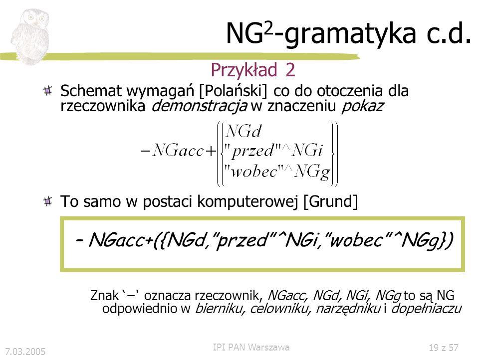 7.03.2005 IPI PAN Warszawa 18 z 57 GS 2 -gramatyka Przykłady NG 2 dom 1 ojca 2 NG = {NG 1, NG 2 }, NG 1 = {1}, NG 2 = {2}; NG 1 #dop2 NG 2 ; dom 1 dla