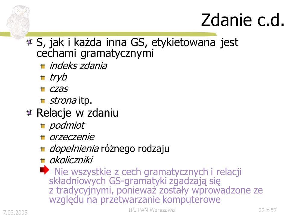 7.03.2005 IPI PAN Warszawa 21 z 57 Zdanie c.d. Przykład Mój 1 pies 2 nie 3 lubi 4 goździków 5. 6 trzy spójne GS: NG 1, NG 2 i VG, NG 1 i NG 2 są podrz
