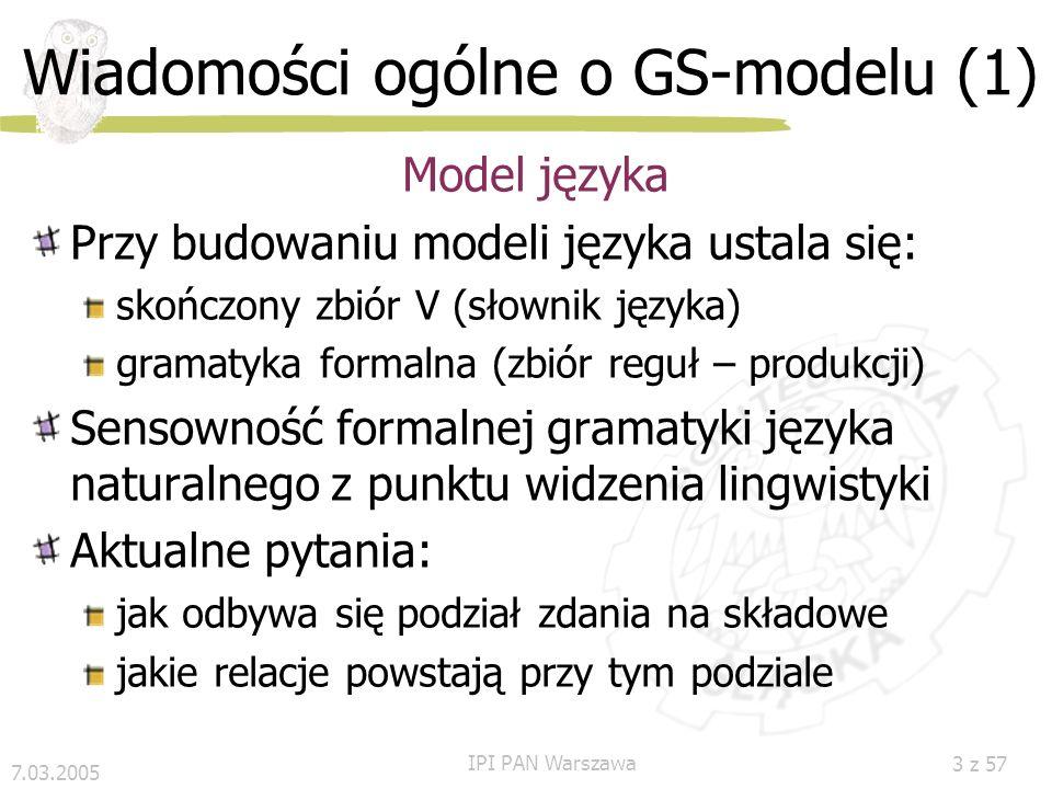 7.03.2005 IPI PAN Warszawa 2 z 57 Plan Wiadomości ogólne o GS-modelu Formalizm SGS Gramatyka SGGP (dawniej GS-gramatyka) Analiza składniowa Analiza se