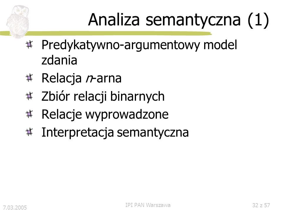7.03.2005 IPI PAN Warszawa 31 z 57 Anafora w SGGP W SGGP przez anaforę rozumiemy relację nie między pojedynczymi słowami, a między GS W naszym przykła