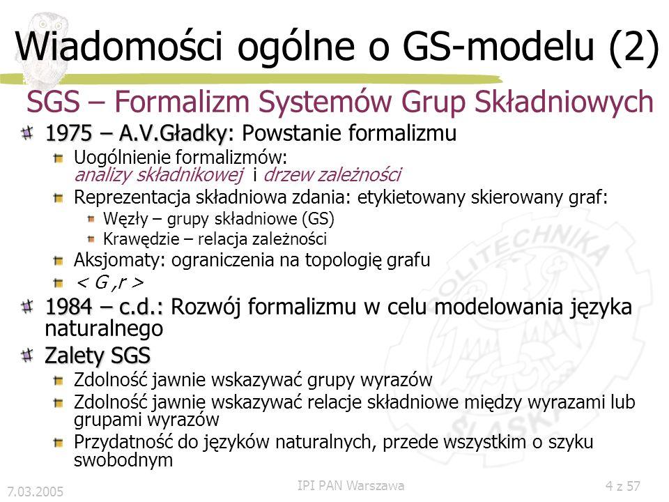 7.03.2005 IPI PAN Warszawa 3 z 57 Wiadomości ogólne o GS-modelu (1) Model języka Przy budowaniu modeli języka ustala się: skończony zbiór V (słownik j