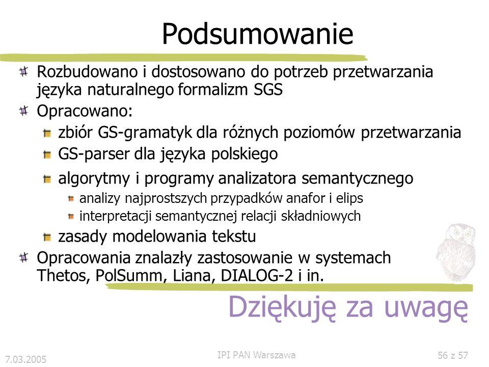 7.03.2005 IPI PAN Warszawa 55 z 57 Eksperyment: interpretacja semantyczna Przyk ł ad RelSyn: #ozn(A,B) Interpretacja semantyczna Propozycja abstrakcji