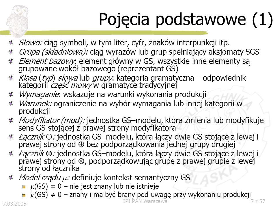 7.03.2005 IPI PAN Warszawa 47 z 57 Przekształcenie tekstu Wyniki generowania zdań Dla zdania S1: [NG6 VG3 AG2 PG2] pewny dziewczynka mieszkać dawno, dawno to w mały wiejski domek Dla zdania S2: [NG9 VG4 NG8 NG7] nikt pamiętać nie prawdziwy imię który Przekształcenie tekstu: Nowa grupa NG7: Zmiany strukturalne: dziewczynka - reprezentant antecedensa (NG6) - zastępuje której (NG7) morfo-syntaktyczne charakterystyki NG7 dziedziczone po NG7 Nowa grupa NG8 = NG8+NG7 Zdanie S2 po przebudowie: [NG9 VG4 NG8] nikt pamiętać nie prawdziwy imię dziewczynka