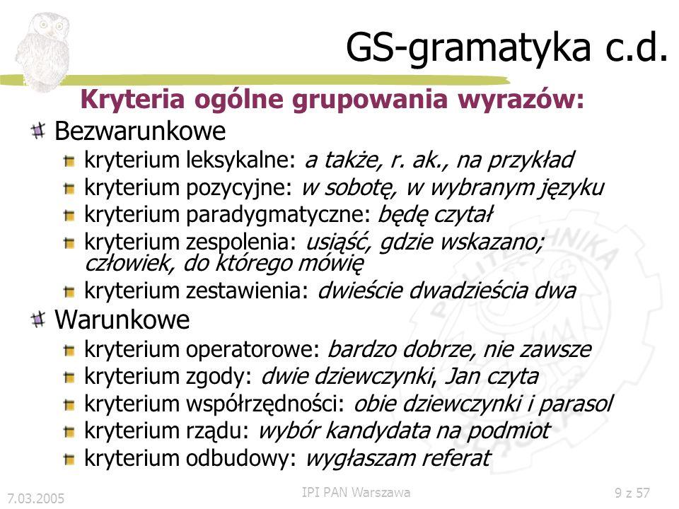 7.03.2005 IPI PAN Warszawa 9 z 57 GS-gramatyka c.d.