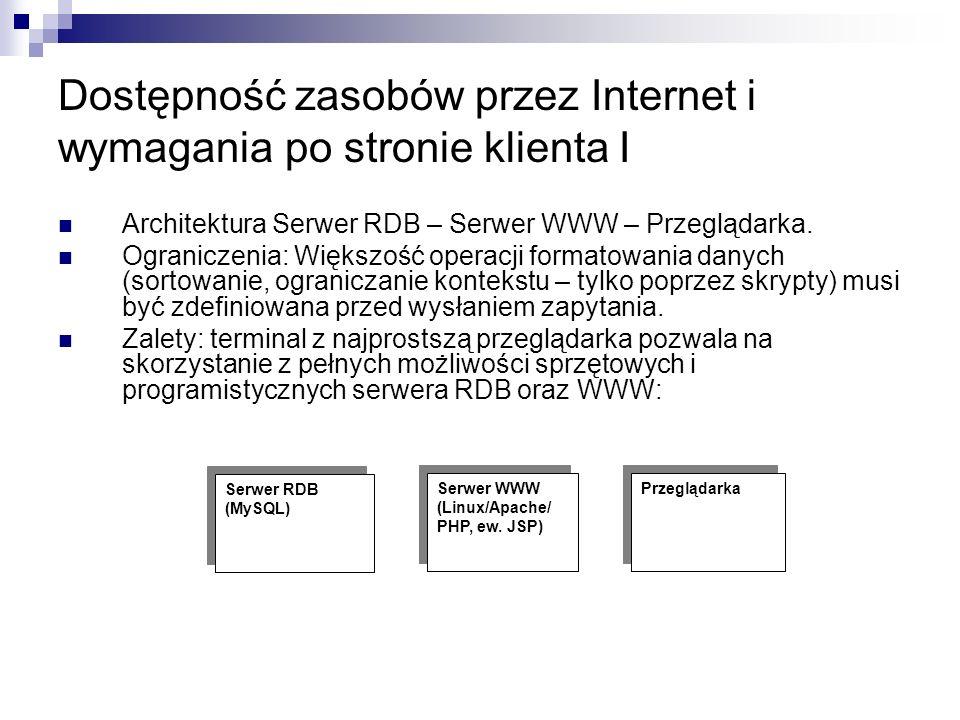 Dostępność zasobów przez Internet i wymagania po stronie klienta I Architektura Serwer RDB – Serwer WWW – Przeglądarka.