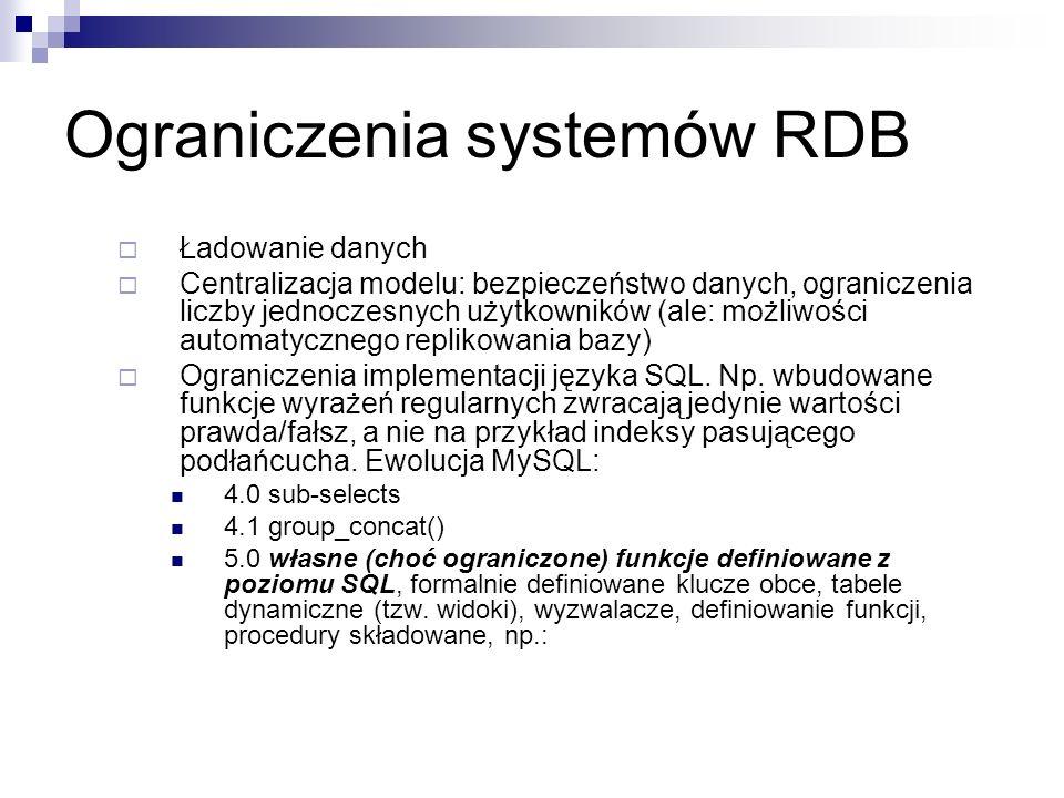 Ograniczenia systemów RDB Ładowanie danych Centralizacja modelu: bezpieczeństwo danych, ograniczenia liczby jednoczesnych użytkowników (ale: możliwości automatycznego replikowania bazy) Ograniczenia implementacji języka SQL.