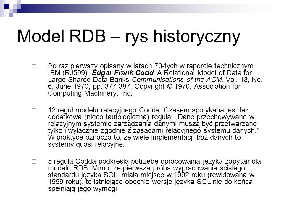 Model RDB – rys historyczny Po raz pierwszy opisany w latach 70-tych w raporcie technicznym IBM (RJ599).