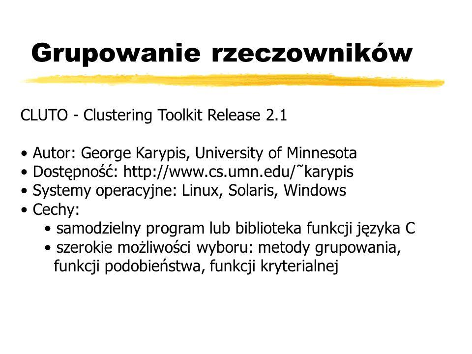 Grupowanie rzeczowników CLUTO - Clustering Toolkit Release 2.1 Autor: George Karypis, University of Minnesota Dostępność: http://www.cs.umn.edu/˜karyp